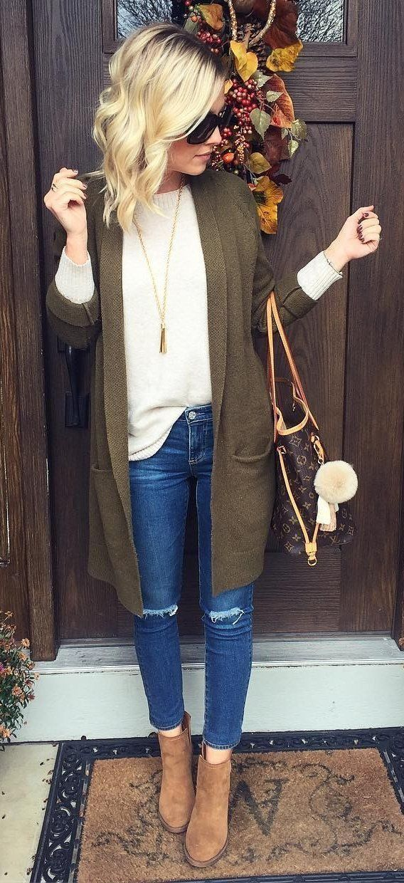 Perfect cozy outfit, but not sloppy. Maybe with a lightweight casual jacket instead of the long sweater- since I'm short, may look better