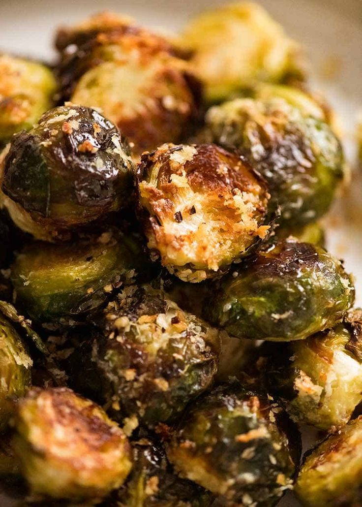 Close up of CRISPY Parmesan Garlic Roasted Brussels sprouts   – Veggies
