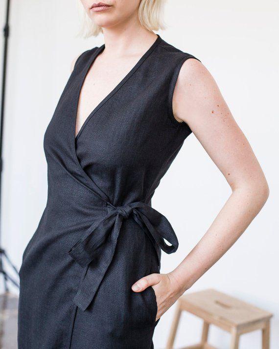 2397d9d7d8e2d Linen Wrap Dress Calf Length Long Linen Dress Linen Wrap