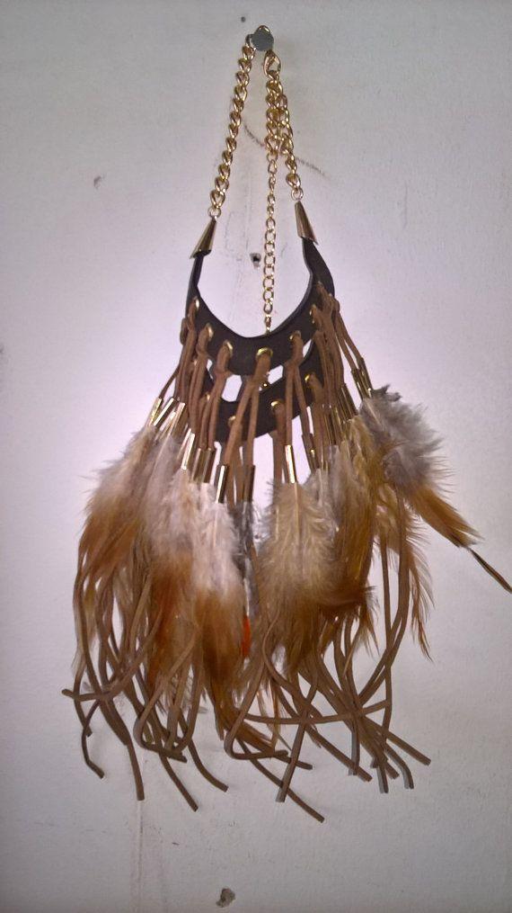 Indiase Tribal Boho stijl Feather zwart leder en leder Womens