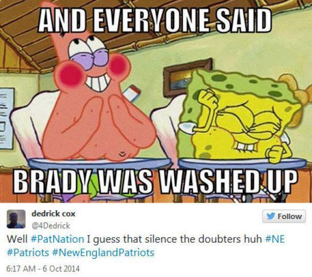 new england patriots memes | ... 2014Cincinnati Bengals @ New England Patriots, Score: 17-43Photo by