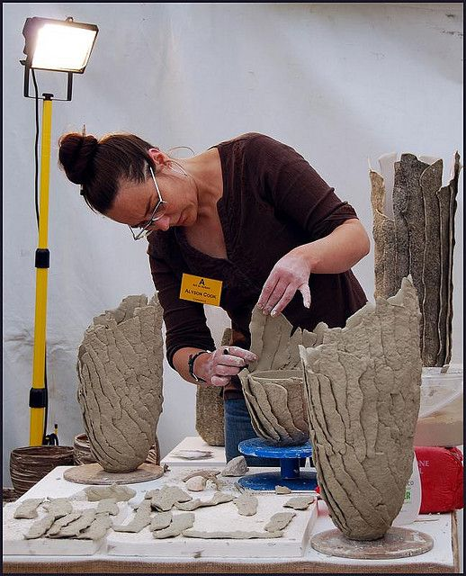 interesting way of building slab pot--Does anyone know since it's done in strips, is this the toilet paper mixed with slip process?-sw