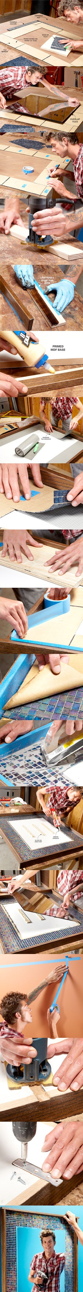 For details visit http://www.familyhandyman.com/DIY-Projects/Tile/Tile-Techniques/diy-decorating--frame-your-mirror-with-glass-tile/View-All