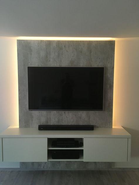 Gelungene Kombination: Angesagte Betonoptik und Vanille matt | Referenzen | TV WALL - die TV Wand aus Schreinerhand