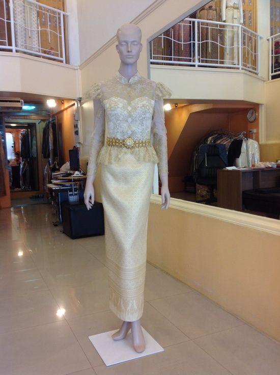 ชุดไทย เอว ไหล่ ระบาย ผ้าลูกไม้ Thailand women dresses