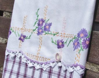 This Park Designs tea towel is adorned with a beautiful vintage piece of hand-embroidered, hand-crocheted edging (originally a vintage pillow case). From humble to memorable with just a bit of machine stitching using Mako 100% cotton thread.  At one time, embroidery and cross stitch were the preferred method to hand decorate pillowcases. To come across one in pristine condition is a rare, precious find; stains from use over the years are common, usually from a hot iron or rust in the water…