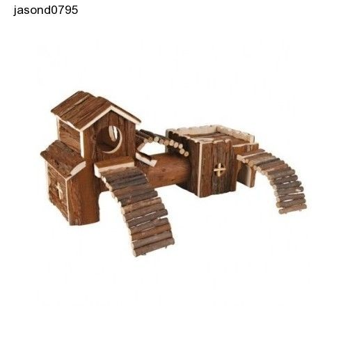 Hamsters Wooden House Hut Pet Pets Tunnel Trixie Tower Mouse Rat Toy Play Cage