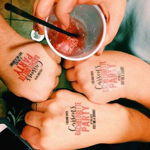 Custom Bachelorette Party temporary tattoos for you and the ladies. Use any name, the bride will love the extra effort you put into the batchelorette party. We have the most designs available.