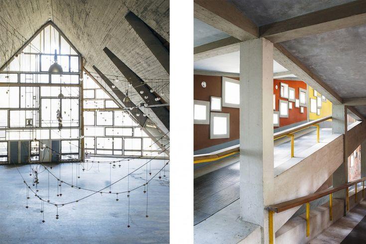 SX: Sala del comune, all'interno della Colonia, oggi luogo di ritrovo per gli artisti ospitati dalla struttura; DX: La Colonia che, per la conformazione del terreno, non è un corpo unico ma è costituita da 17 edifici uniti da un sistema di rampe