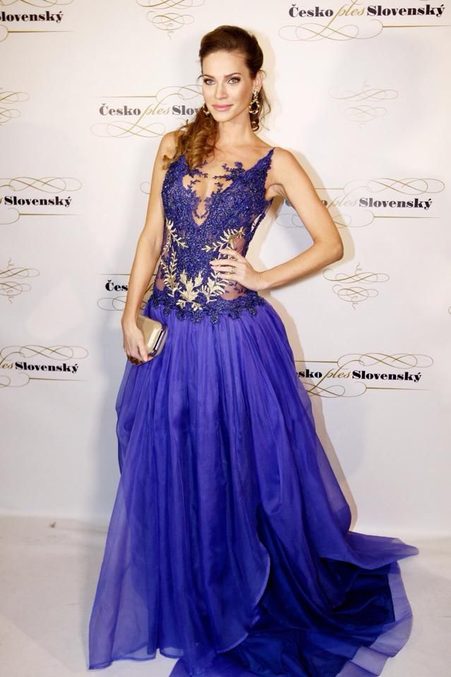 Dress: Jana Pistejova  Slovak model Andrea Veresova  #blue #dress #lace