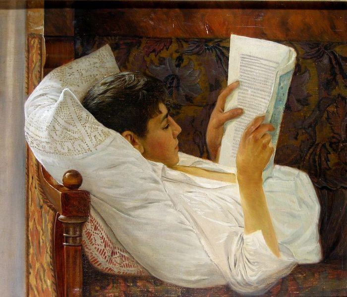 Octavian Smigelschi (1866-1912) – Young Man Reading, Muzeul Naţional Brukenthal, Sibiu, Roumania