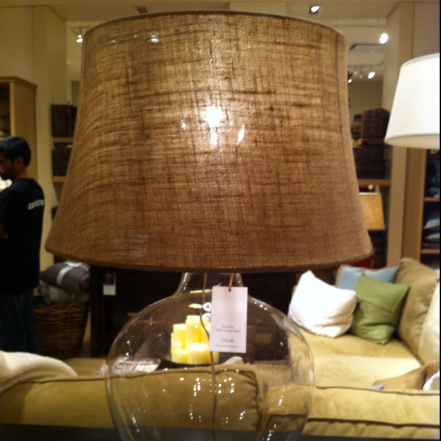Burlap lamp from pottery barn. I want!