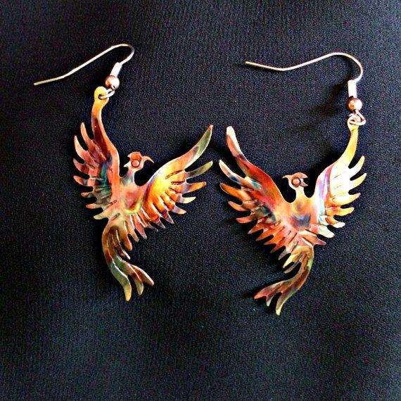 phoenix earrings, phoenix rising, phoenix bird, phoenix jewelry, firebird, flame painted copper, fire torched copper, copper phoenix