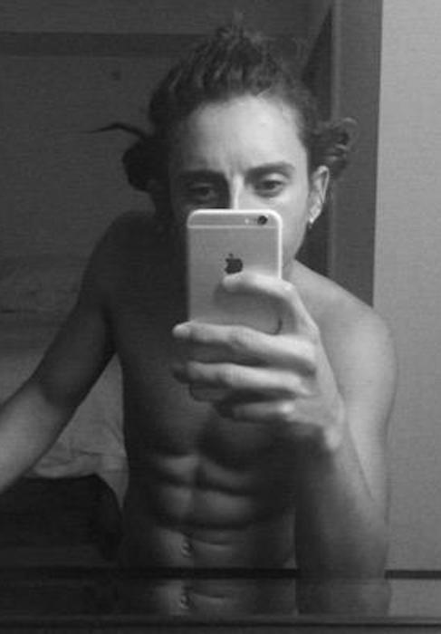 Moises Arias shirtless body...
