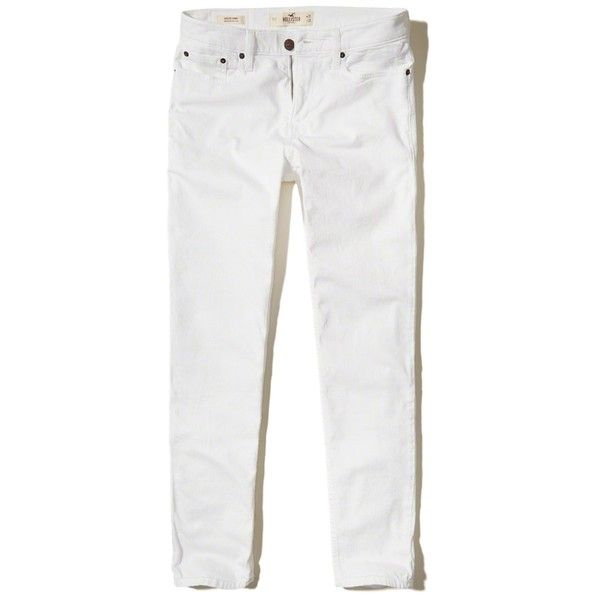 Hollister Athletic Skinny Jeans ($25) ❤ liked on Polyvore featuring men's fashion, men's clothing, men's jeans, white, mens stretch denim jeans, mens stretch jeans, mens white skinny jeans, mens stretchy jeans and mens embroidered jeans