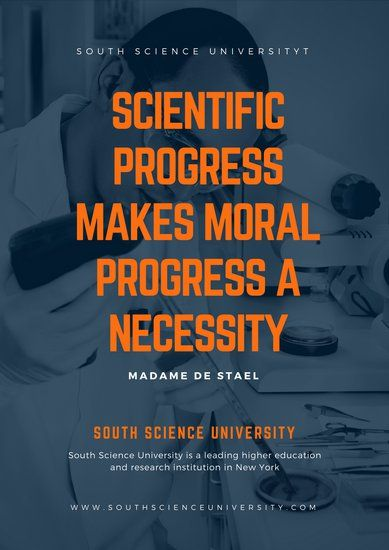 navy blue orange scientist quote university school poster poster