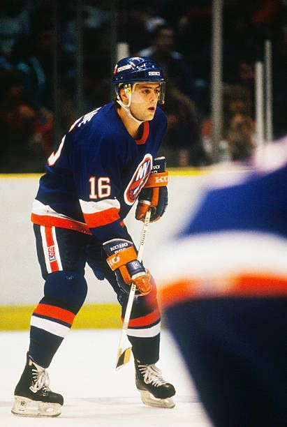 The New York Islanders' captain Pat Lafontaine skates on the ice and waits for a pass during a game against the New Jersey Devils at the Meadowlands...