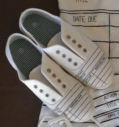 Library Due Date Card Canvas Shoe   Librarian and by ShopJustWish, $24.95