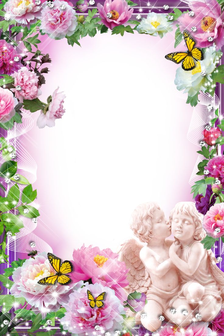 photo frame flower with angels