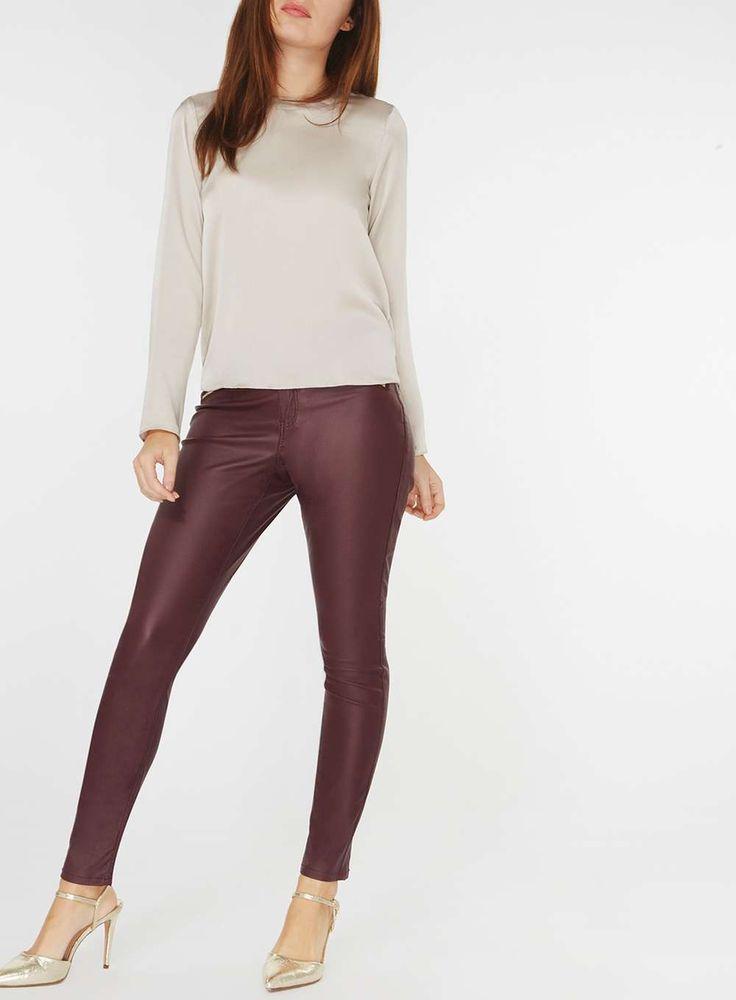 Womens Oxblood Zip Coated 'Frankie' Super Skinny Jeans- Red