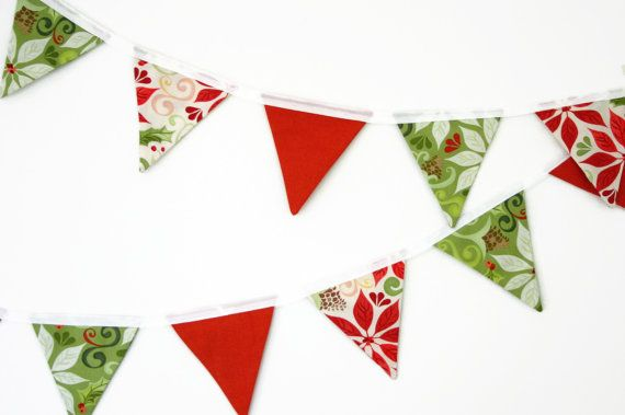 Mini Fabric Bunting - Christmas Holiday Bunting - Red Green Poinsettia and Holly, Photo Prop, Party Decor, Fabric Garland, Festive Season - 20FourAcres