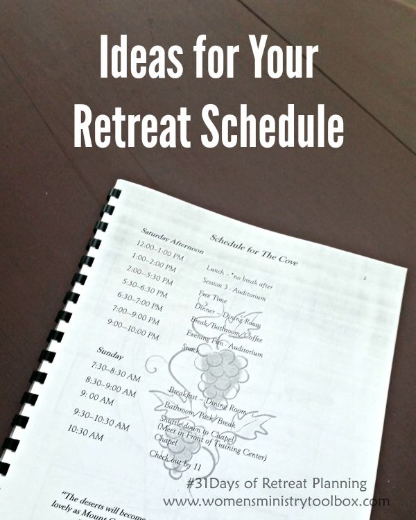 Day 12 – Ideas for Your Retreat Schedule - I'm sharing actual women's ministry retreat schedules to help you plan. Check them out at www.womensministrytoolbox.com .