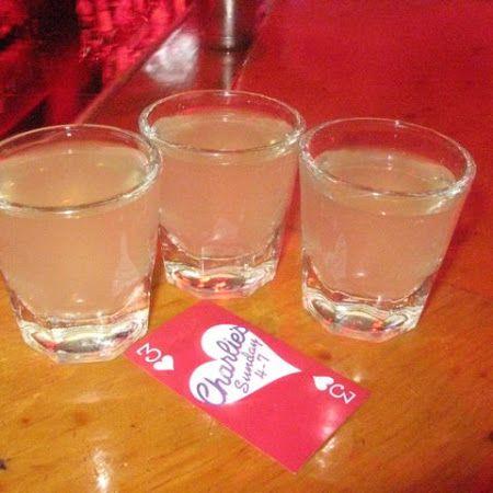 White Gummy Bear Shot...1 Shot Raspberry Vodka, 1 Shot Triple Sec, 1 Shot Sweet & Sour, a Splash of Sprite. Shake together & put into shot glasses!