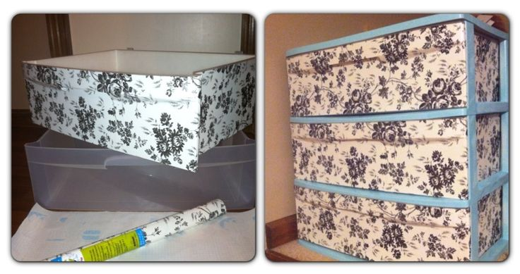 Pin completed! Self adhesive from Dollar Tree and spray painted the outside frame of plastic drawers. DIY dollar store and plastic drawer made pretty!