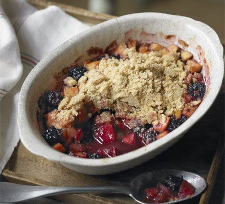 Apple & blackberry crumble - Raymond Blanc pre-cooks the crumble topping to avoid gluey, uncooked crumble and retain the texture of the fruit