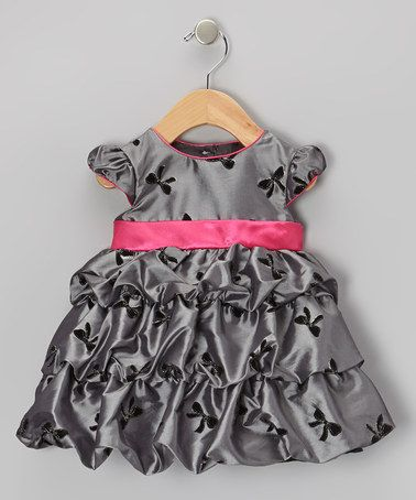 Take a look at this Silver & Fuchsia Bow Taffeta Bubble Dress - Infant, Toddler & Girls by Joe-Ella on #zulily today!