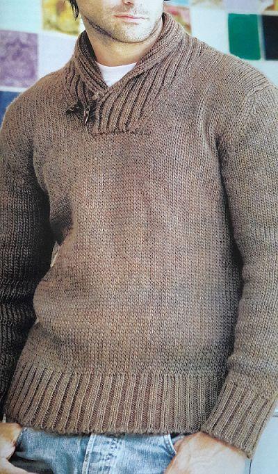 Patrón para tejer un sweater de hombre en Punto Jersey                                                                                                                                                                                 Más