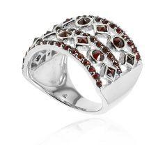 Inel argint 925 rodiat, design italian cu granate -culoare rubin.
