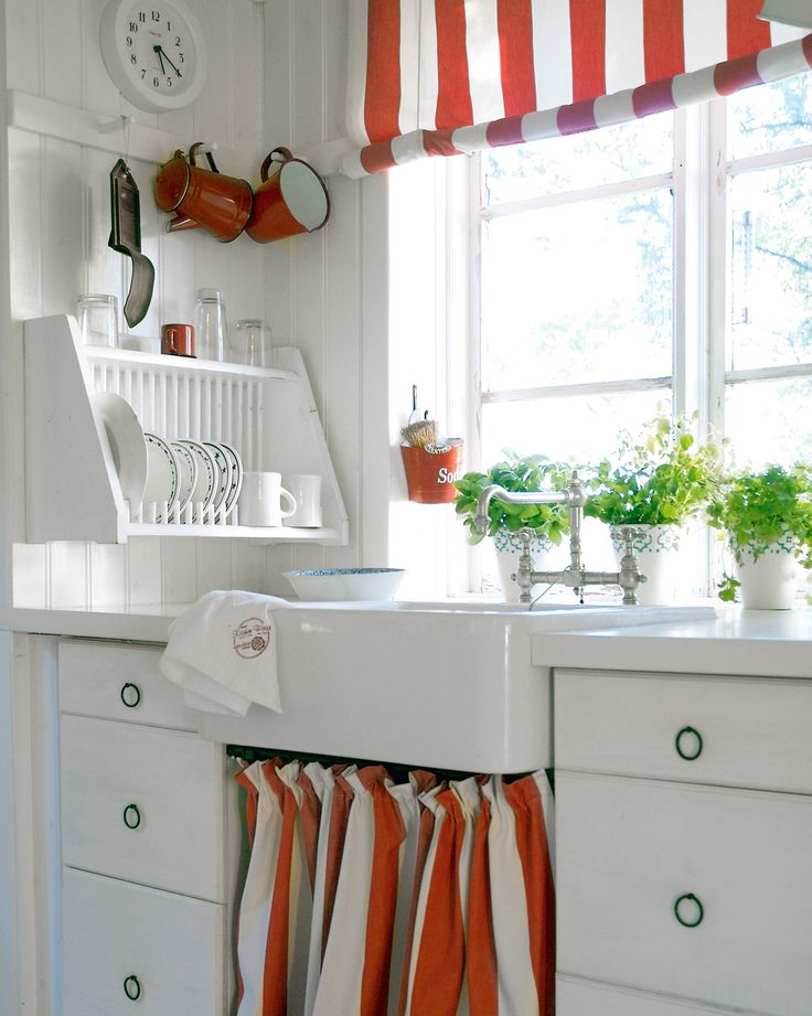 red & white stripe roman shade in white kitchen - love the drying rack
