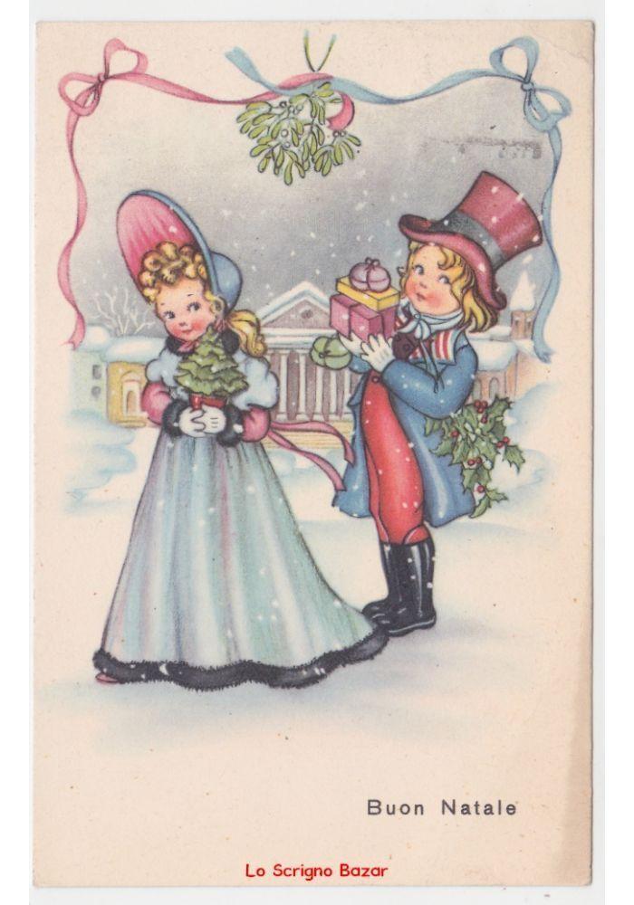 Regali Di Natale Per Coppia.1950 Cartolina Vintage Fp Coppia Bambini Vischio Dama Cavaliere