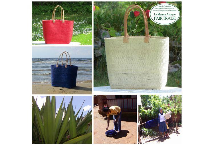 Fair Trade shopping- och utflyktskorg: Art nr 217 Korg XGM Vävd sisal Läderhandtag