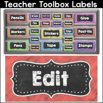 "Create a whimsical teacher toolbox with these fun chalkboard theme editable labels. These labels are designed to fit the ""Stack-on"" 22 drawer and 39 drawer organizers from Lowe's. The label colors are: red, orange, yellow, green, blue, purple and pink."
