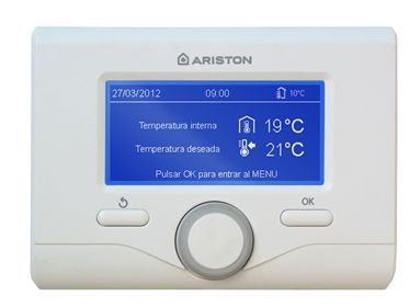 Termostato inteligente Sensys inalámbrico para calderas Ariston de la gama Evo. Centralita preparada para interconectar todos los equipos y energías que componen el sistema y mejorar la eficiencia y el confort para el usuario. Ahora, sólo con dos cables, se puede integrar cualquier tipo de instalación.