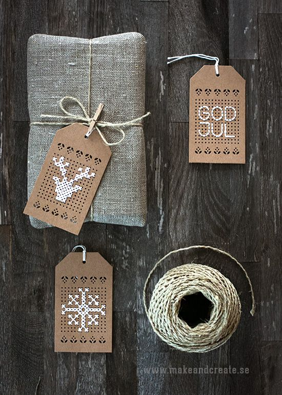 Embroidered gift tags by juletiketter - Pyssel & pysseltips - Make & Create