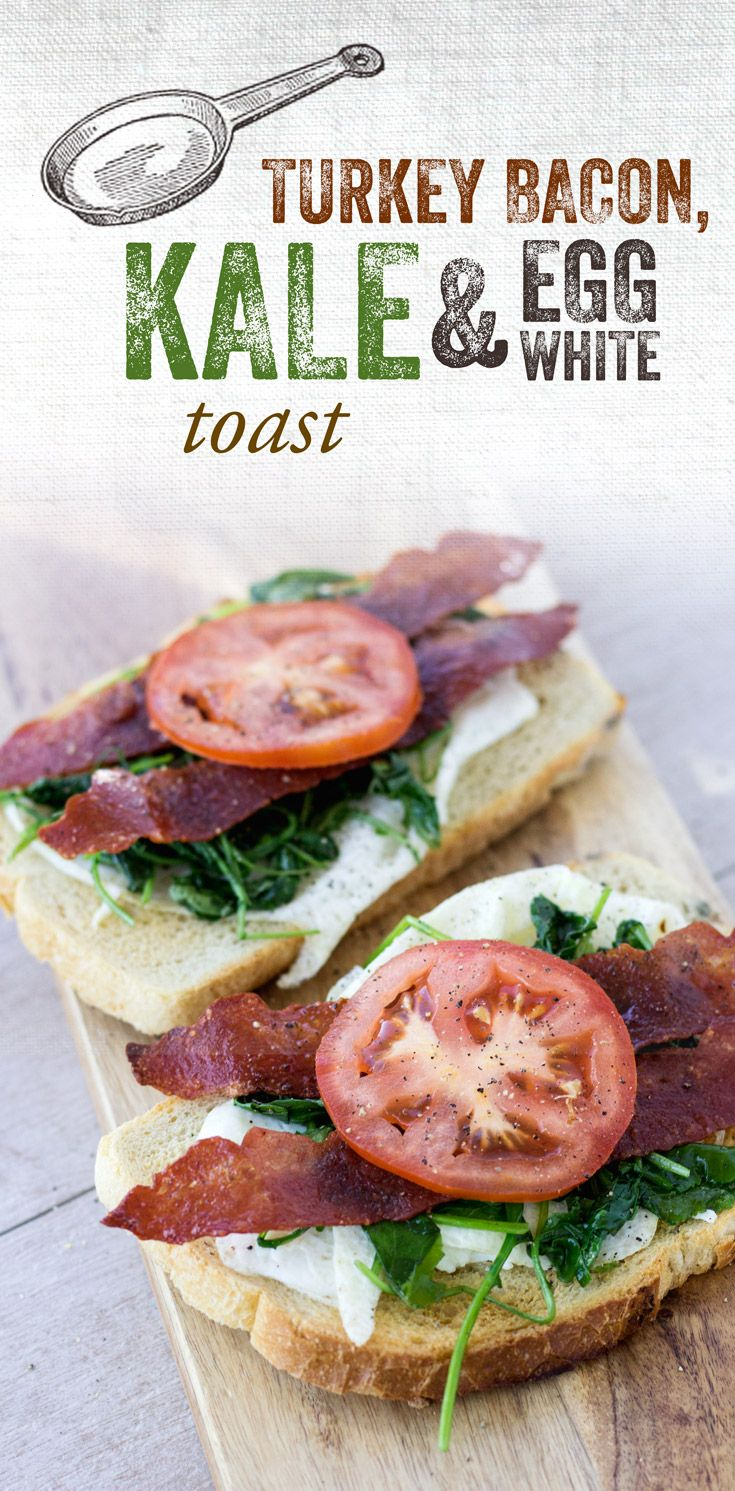 Turkey Bacon, Kale & Egg White Toast: Wake up slowly to the slow-made deliciousness of toasted California Goldminer Sourdough Bread. Topped with scrambled egg whites, turkey bacon, sautéed kale and fresh tomato slices, there's nothing like it!