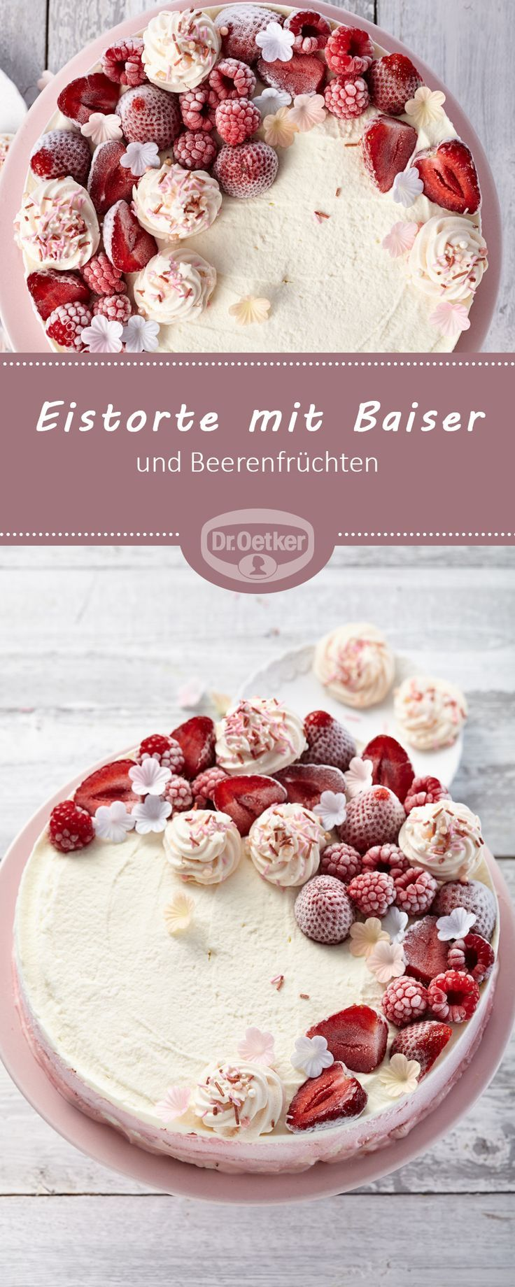 Ice cream cake with meringue and berry fruits   – Eis selber machen – #berry #Ca…