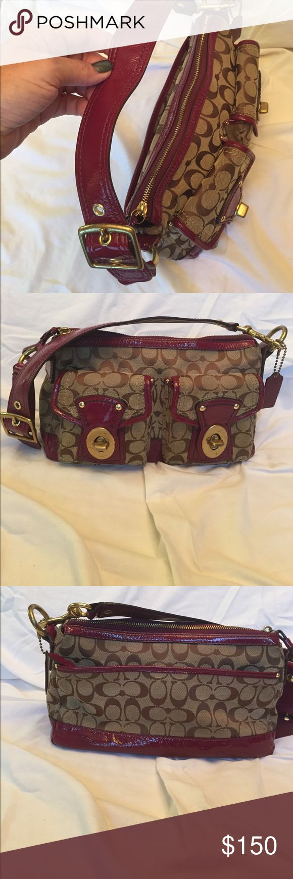 Coach Legacy in signature jacquard and berry Beautiful coach legacy handbag in signature jacquard and Barry paten leather trim and strap. The bag is like new very gently used no stains rips or tears or signs of wear on the bottom corners. Gold toned hardware with one hanging coach tag. One area in leather shows some wear, but structurally fine. Overall this is really a great person and a great buy!😄 Coach Bags Shoulder Bags