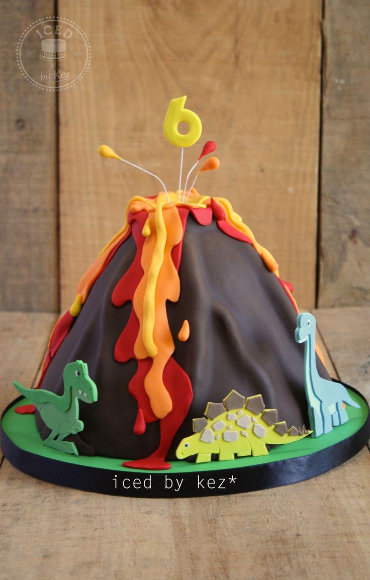 Volcano & Dinosaur themed Cake - iced by kez #volcanocake #dinosaurcake