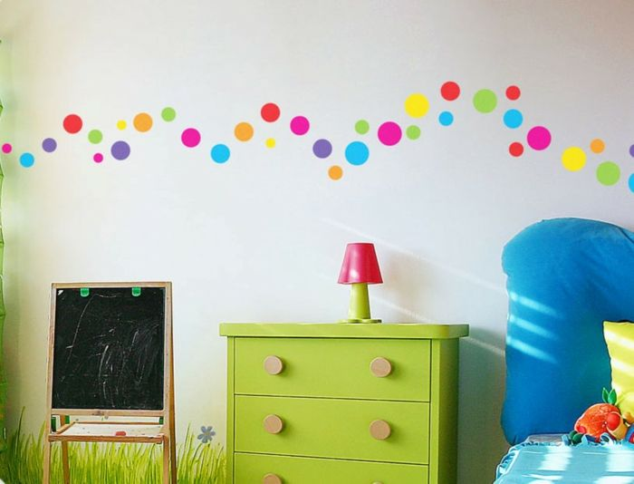 kinderzimmer deko ideen farbige punkte grne kommode