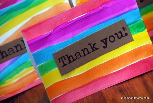 Rainbow Thank You Cards- cute craft for kids
