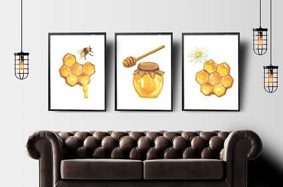Watercolor honey bee set of 3 prints nursery printable bee