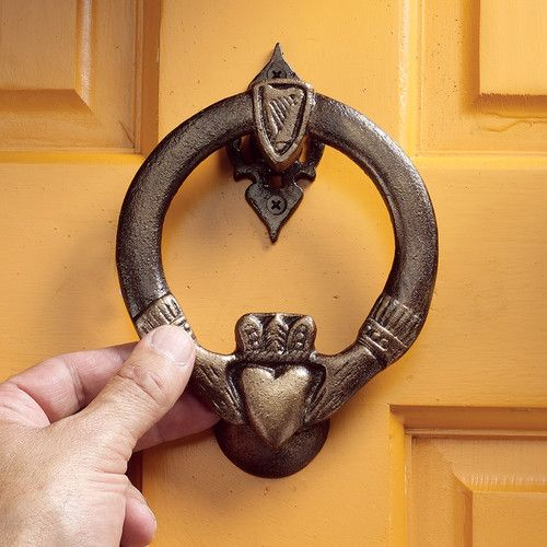 Features:  -Traditional style.  -Solid cast iron construction.  -Hand finished.  Door Type: -Exterior.  Finish: -Iron.  Style: -Traditional.  Product Type: -Door knocker.  Hand Painted: -Yes. Dimensio
