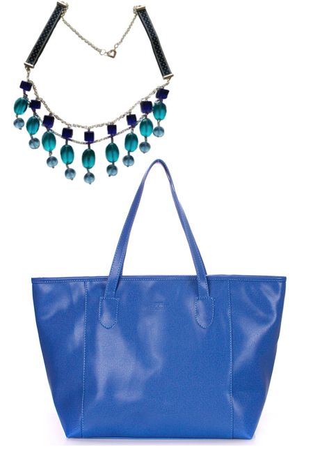 мини образ с синей сумкой и синим колье  купить за 984 грн. в интернет-магазин Stilecity  ✔ Лучшие цены ☆ Создайте свой собственный образ ♡ #Stilecity, новый капсульный гардероб на каждый день. Образ содержит: сумка колье