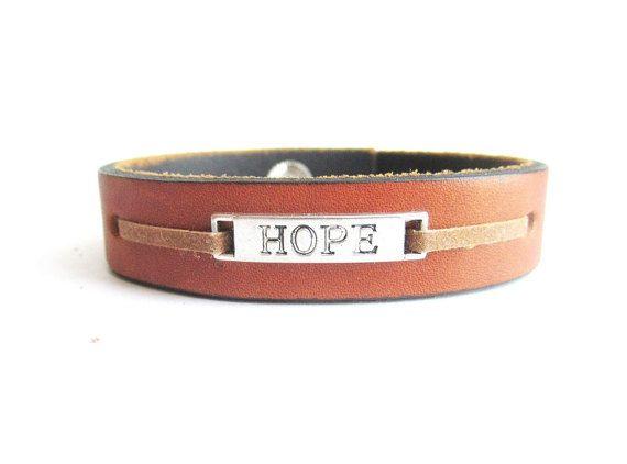 Men's leather bracelet hope leather bracelet by Bravemenjewelry