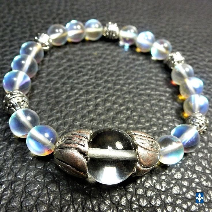 ♥ Gorgeous Clear Quartz & Iridescent Czech Glass Plated Silver Stretchy Bracelet