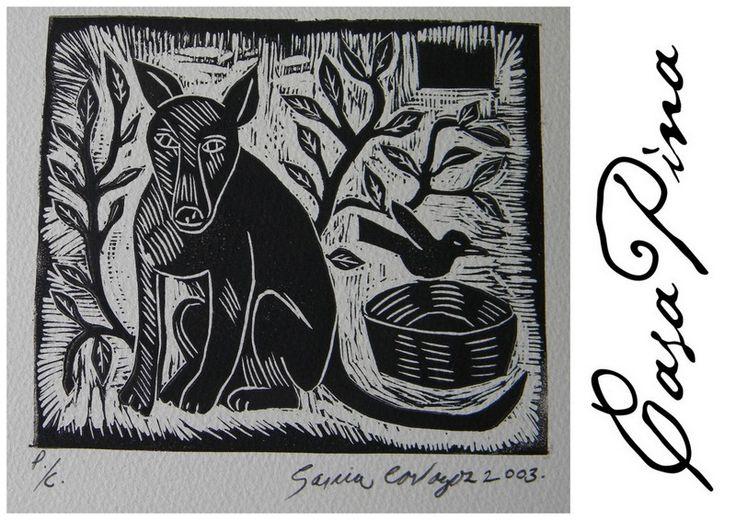 """""""Xoloitzcuintle"""". Xilografía ( grabado en madera ) seriada, fechada y firmada por el artista Regiomontano César García Cavazos en 2003. Medidas aprox: 15 X 16 cms. Preguntar el Precio ~ Price Upon Request."""